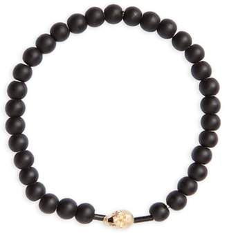 Luis Morais Gold Skull Beaded Stretch Bracelet