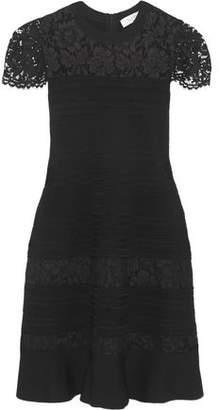 Valentino Lace-Paneled Fluted Stretch-Knit Dress