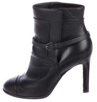 Chanel Leather Round-Toe Ankle Boots