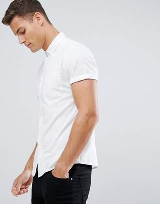 Asos DESIGN casual skinny oxford shirt in white