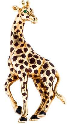 Cartier 18K Emerald Giraffe Brooch