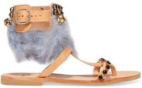 Mabu By Maria Bk Aten Feather-Embellished Leather Sandals