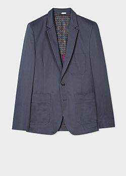 Paul Smith Men's Mid-Fit Slate Grey Patch-Pocket Blazer