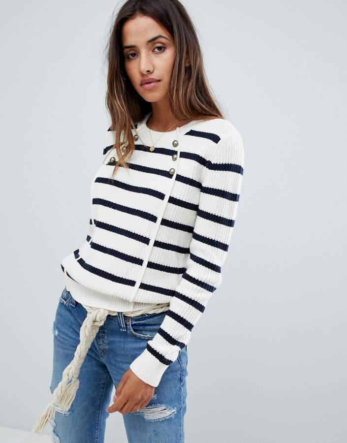 button front stripe jumper