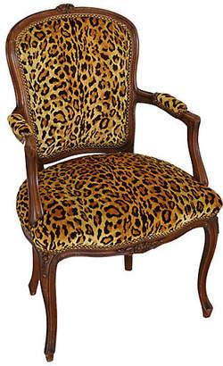 One Kings Lane Vintage 1950s Leopard Velvet Carved Armchair