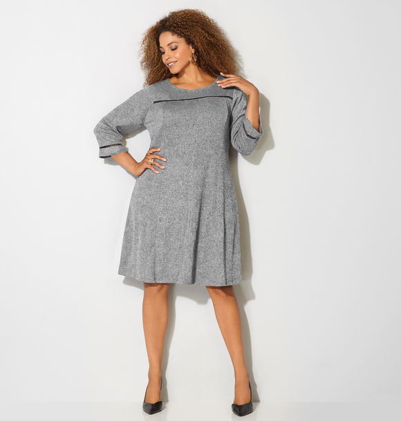 Cutout Inset Fit and Flare Sweater Dress