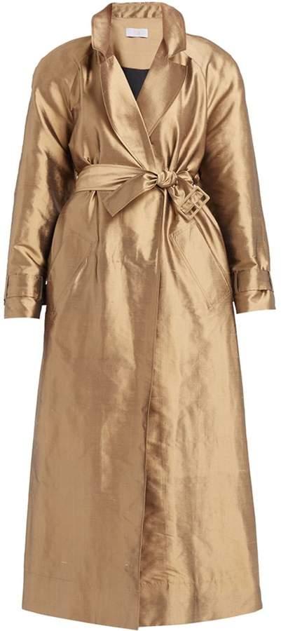 WtR - Zemphira Gold Silk Long Trench Coat