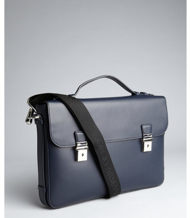 Giorgio Armani navy leather foldover flap briefcase