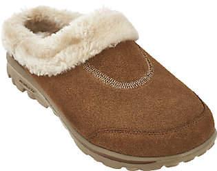 As Is Skechers GOwalk Suede Faux Fur Clog w/ Memory Form - Embrace $42 thestylecure.com