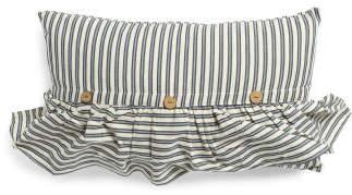 14x24 Ticking Stripe Ruffle & Button Pillow