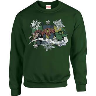 Marvel Comics Thor Ironman Hulk Snowflake Green Christmas Sweatshirt