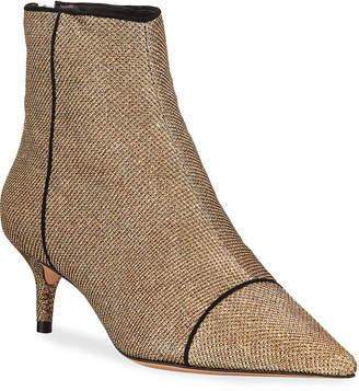 Alexandre Birman Kittie Glittered Mesh Ankle Booties