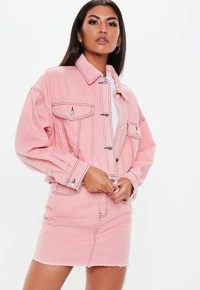 Missguided Pink Denim Cropped Contrast Stitch Co Ord Jacket