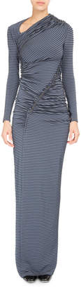 Neiman Marcus Atlein Striped-Dot Ruched Jersey Gown