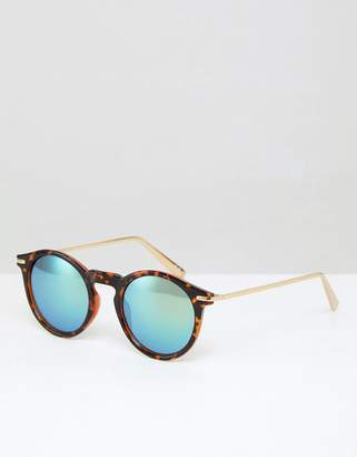 Asos DESIGN Round Sunglasses With Metal Arms And Flash Lens In Tort