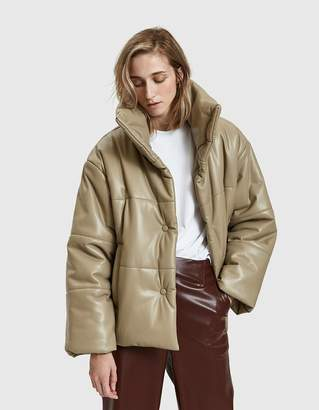 Hide Vegan Leather Puffer Coat in Sand