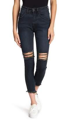 One Teaspoon Fringe Hem High Rise Cropped Jeans