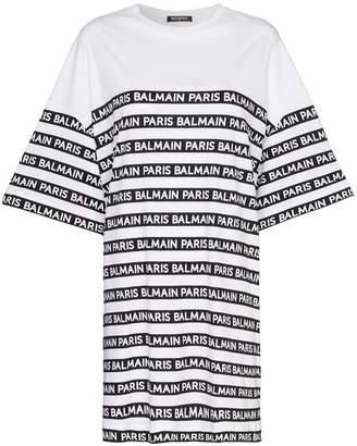 1f8e94609176 Balmain oversized logo stripe print cotton t shirt