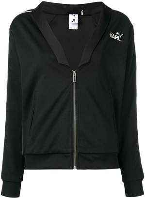 Karl Lagerfeld Paris logo zipped bomber jacket