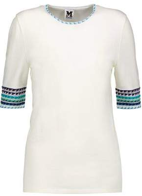 M Missoni Crochet Knit-Trimmed Jersey Top