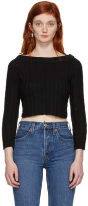 The Elder Statesman Black Cashmere Cropped Off-the-Shoulder Pullover