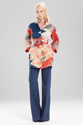 Natori Josie Kimono Patchwork Seamed Long Topper With Sash