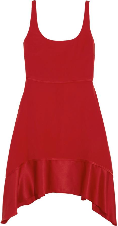 Elizabeth and James Portia asymmetric silk-blend mini dress
