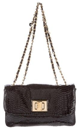 Stuart Weitzman Embossed Patent Leather Shoulder Bag