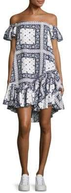Minella Off-The-Shoulder Scarf-Print Dress