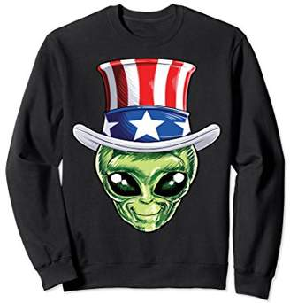 SAM. Alien Uncle 4th of July Sweatshirt Men American Flag UFO