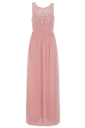 Quiz Rose Pink Pearl Chiffon High Neck Dress