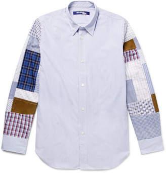 Junya Watanabe Slim-Fit Patchwork Striped Cotton-Poplin Shirt