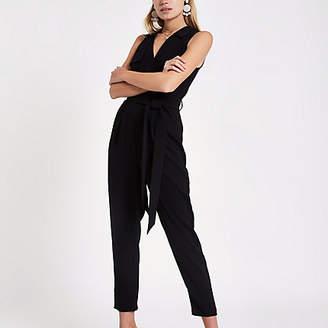 River Island Black tailored sleeveless jumpsuit