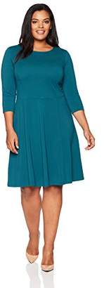 Lark & Ro Women's Plus Size Three Quarter Sleeve Knit Fit and Flare Dress