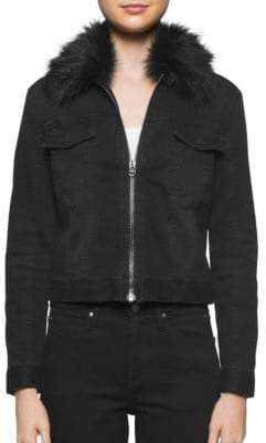 Calvin Klein Jeans Faux Fur Collar Trucker Jacket