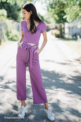 Urban Outfitters Keira Linen Wrap Detail Jumpsuit