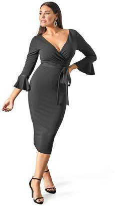 e0f8cac25a8a6 Sistaglam Loves Jessica Fluted Sleeve Bodycon Wrap Dress - Black