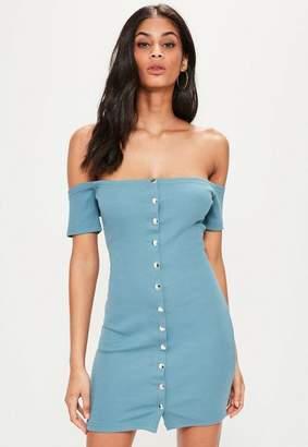 Missguided Blue Stud Popper Detail Bardot Bodycon Dress