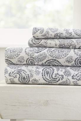 IENJOY HOME Home Spun Premium Ultra Soft Coarse Paisley Pattern 4-Piece California King Bed Sheet Set - Navy