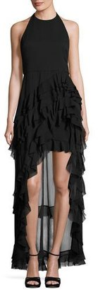 Alice + Olivia Carma Tiered High-Low Halter Gown, Black $695 thestylecure.com