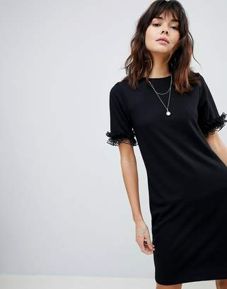 Asos Design T-Shirt Dress In Ponte With Lace Frill Sleeve