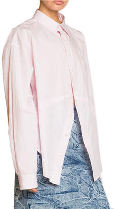 Balenciaga Striped Poplin Masculine Button-Front Blouse