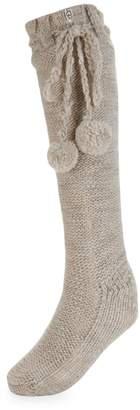 UGG Faux Fur-Lined Pom-Pom Socks