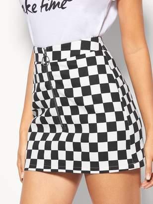Shein O-Ring Zipper Checkered Skirt