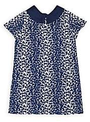 Charabia Kids' Leaf-Pattern Jacquard Dress-Navy