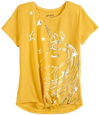 Girls 4-12 Jumping Beans Print Knot-Front Tee