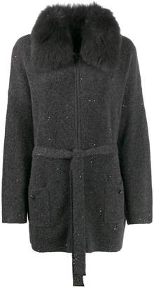 Max & Moi fur collar cardigan