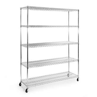 Seville Classics UltraDurable Commercial-Grade 5-Tier Steel Wire Shelving with Wheels