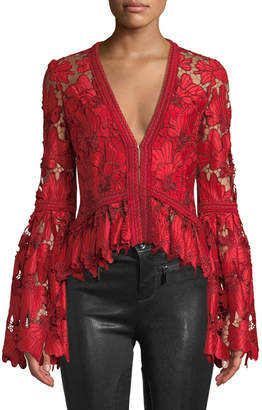 Alexis Vinton V-Neck Floral Lace Long-Sleeve Top