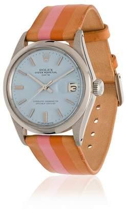 Rolex La Californienne Pastel Blue Marigold Oyster Perpetual Date Leather Watch